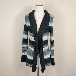 White House Black Market Stripe Ruffled Cardigan